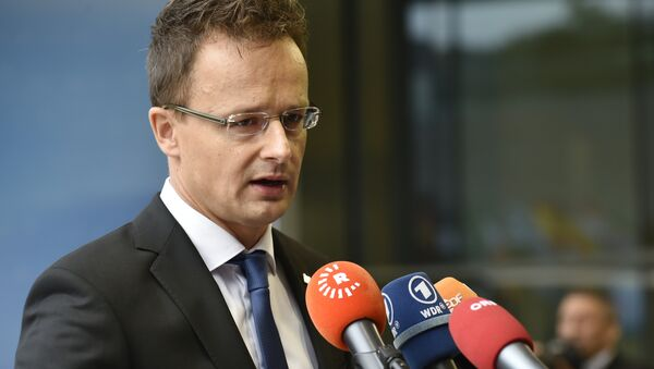 Hungary Foreign Affairs Peter Szijjarto answers journalits' questions on the second day of the EU Foreign Affairs Council meeting in Luxembourg on September 5, 2015 - Sputnik International