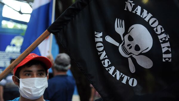 People demonstrate against the US biotechnology giant Monsanto and its genetically modified crops and pesticides, in Asuncion, on May 25, 2015 two days after thousands of people hit the streets in cities across the world to protest against the company. - Sputnik International