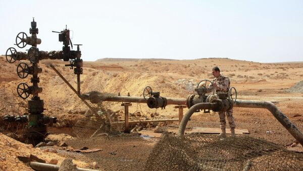A member of the Syrian government forces stands next to a well at Jazel oil field, near the ancient city of Palmyra in the east of Homs province. - Sputnik International
