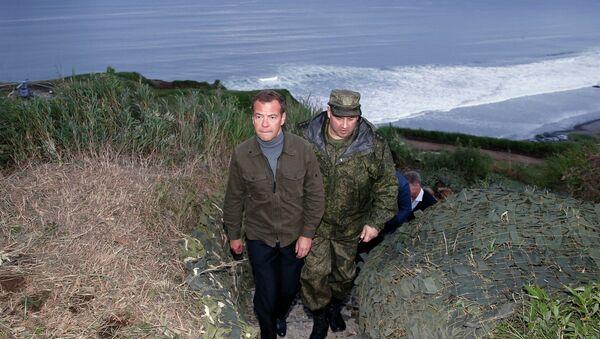 Prime Minister Medvedev visiting the Kuril Islands, August 2015. - Sputnik International