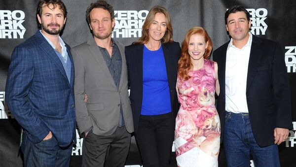Writer and producer Mark Boal, left, actor Jason Clarke, director and producer Kathryn Bigelow, center, actress Jessica Chastain and actor Kyle Chandler participate in a Zero Dark Thirty photo call. - Sputnik International