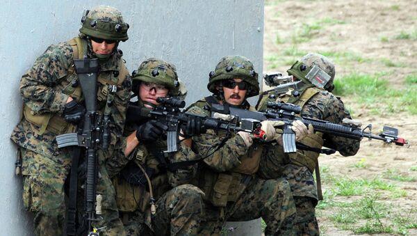 US servicemen take part in a military drill in Yavoriv polygon, Lviv district, western Ukraine, on July 24, 2015 - Sputnik International