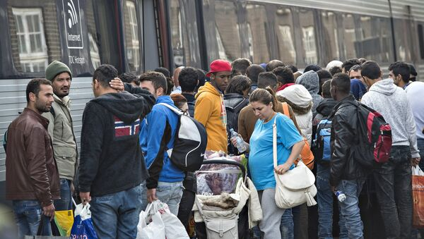 Migrants, mainly from Syria, prepare to board a train headed for Sweden, at Padborg station in southern Denmark September 10, 2015 - Sputnik International