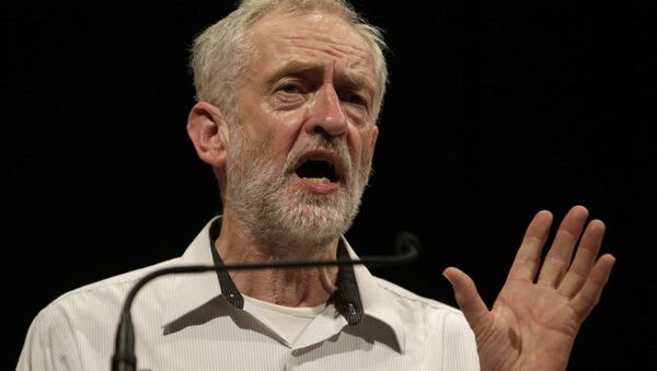 British lawmaker Jeremy Corbyn addressing a meeting during his election campaign for the leadership of the British Labour Party in Ealing, west London, Monday, Aug. 17, 2015. - Sputnik International