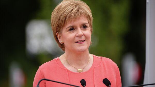 Scotland's First Minister Nicola Sturgeon speaks at Tweedbank Station in Tweedbank on the Scottish Borders on September 9, 2015 - Sputnik International
