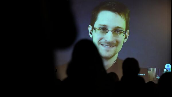 Edward Snowden greets the audience before he is honored with the Carl von Ossietzky medal by International League for Human Rights to during a video conference call after he received the award in Berlin December 14, 2014. - Sputnik International