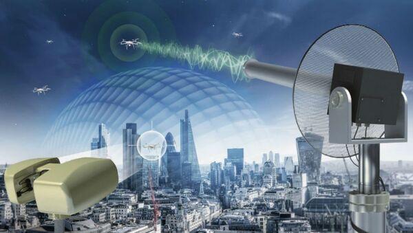 A graphic depiction of the Selex ES Falcon Shield counter-UAV system. - Sputnik International