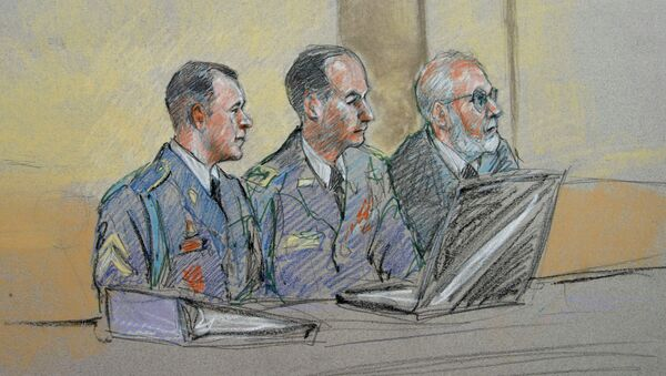 Army Sgt. Bowe Bergdahl, left, defense counsel Lt. Col. Franklin D. Rosenblatt, center, and lead defense counsel Eugene Fidell sit during a preliminary hearing to determine if Sgt. Bergdahl will be court-martialed. - Sputnik International
