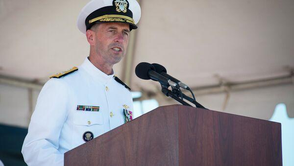 Adm. John Richardson delivers remarks during the commissioning ceremony of the Virginia-class attack submarine USS John Warner (SSN 785) at Naval Station Norfolk. - Sputnik International