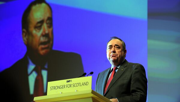 Scotland's First Minister Alex Salmond delivers his final speech as the leader of the Scottish National Party at the SNP Annual National Party Conference in Perth, Scotland on November 14, 2014 - Sputnik International