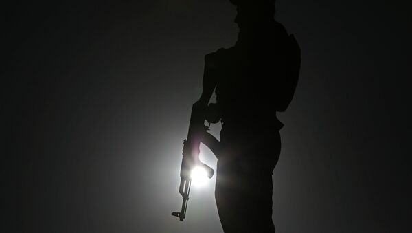 An Afghan police officer stands guard during a campaign rally in the Paghman district of Kabul, Afghanistan, Monday, June 9, 2014. - Sputnik International