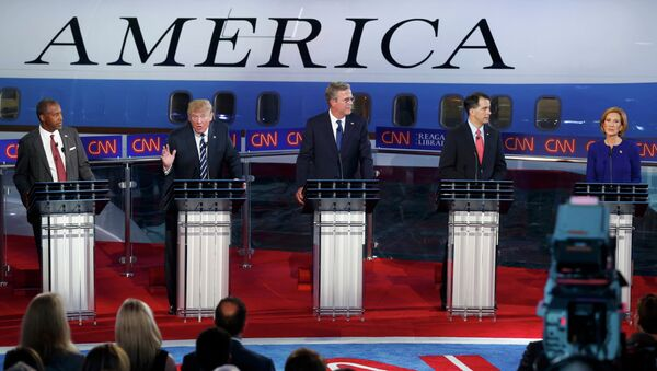 Republican U.S. presidential candidates during the second official Republican presidential candidates debate of the 2016 U.S. presidential campaign at the Ronald Reagan Presidential Library in Simi Valley, California, United States, September 16, 2015 - Sputnik International
