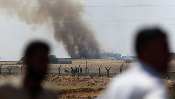 People watch as smoke from a US-led airstrike rises over the outskirts of Tal Abyad, Syria. - Sputnik International