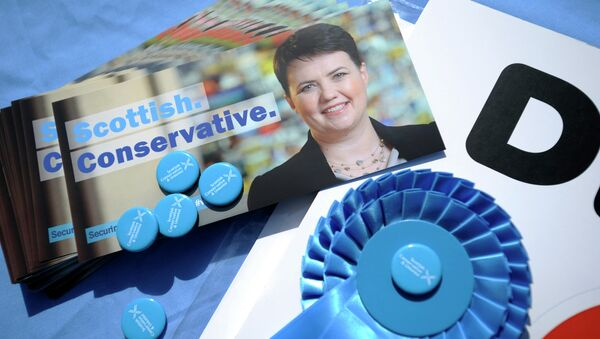 Canvassing materials showing the face of Ruth Davidson, leader of the Scottish Conservatives, are pictured as she campaigns for the UK general election in the centre of Edinburgh on April 23, 2015 - Sputnik International