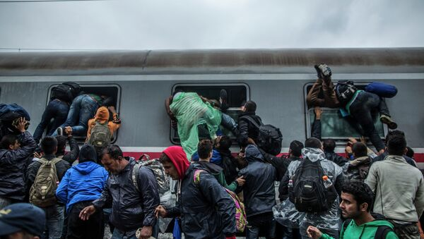 Migrants and refugees board a train by climbing through the windows as they try to avoid a police barrier at the station in Tovarnik, Croatia, Sunday, Sept. 20, 2015 - Sputnik International