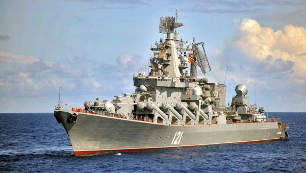 The Moskva guided missile cruiser, the flagship of Russia's Black Sea Fleet - Sputnik International