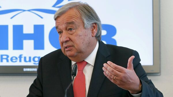 Antonio Guterres, United Nations High Commissioner for Refugees (UNHCR) speaks to media about the refugee crisis in Europe, following their bilateral meeting at the UNHCR headquarters in Geneva, Switzerland, September 4, 2015 - Sputnik International
