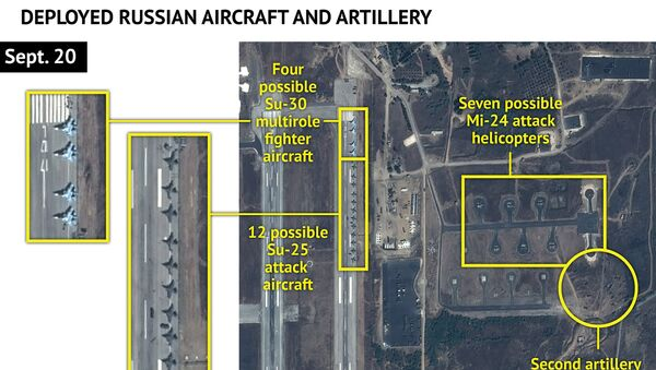 An Airbus Defence and Space satellite image courtesy of Stratfor, a geopolitical intelligence and advisory firm in Austin, Texas, shows at least 16 Russian combat aircraft stationed at the Bassel al Assad air base near the Syrian town of Latakia September 20, 2015 - Sputnik International