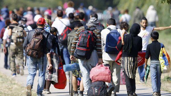 Migrants carry their belongings as they walk towards the Austrian border from Hegyeshalom, Hungary September 23, 2015. - Sputnik International