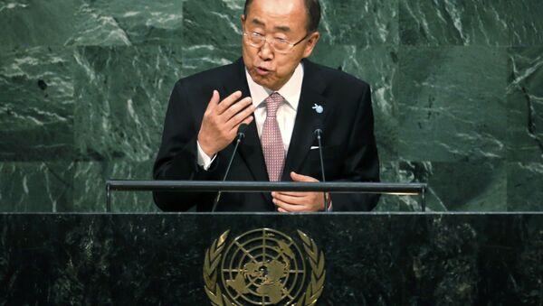 Ban Ki-moon, UN Secretary-General addresses a plenary meeting of the United Nations Sustainable Development Summit 2015 at United Nations headquarters in Manhattan, New York, September 25, 2015. - Sputnik International