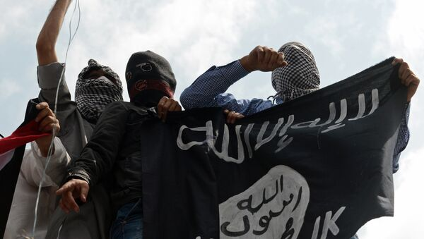 Kashmiri demonstrators hold up a flag of the Islamic State of Iraq and the Levant (ISIL) during a demonstration against Israeli military operations in Gaza, in downtown Srinagar on July 18, 2014 - Sputnik International