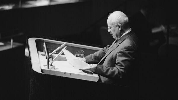 Soviet leader Nikita Khrushchev addresses  UN General Assembly in New York, Oct. 11, 1960 - Sputnik International