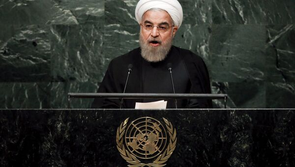 Iran's President Hassan Rouhani addresses a plenary meeting of the United Nations Sustainable Development Summit 2015 at the United Nations headquarters in Manhattan, New York September 26, 2015 - Sputnik International