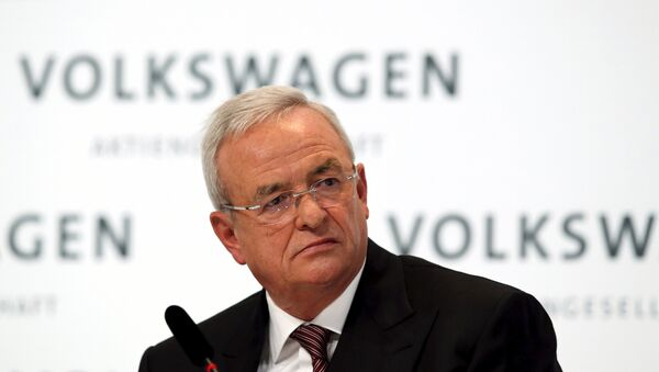 Volkswagen Chief Executive Martin Winterkorn speaks at the annual news conference of Volkswagen in Berlin, in this file picture taken March 12, 2015 - Sputnik International