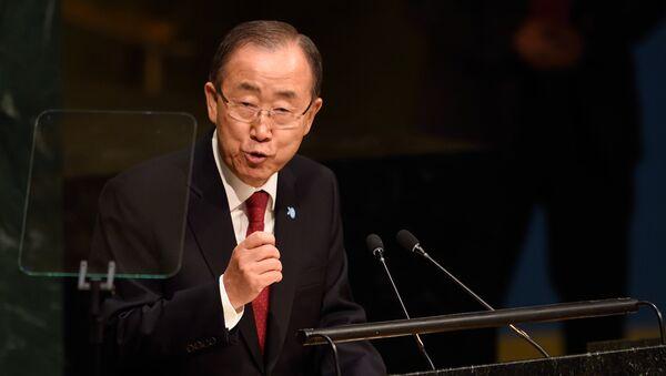 United Nations Secretary general Ban Ki-moon speaks at the 70th session of the United Nations General Assembly September 28, 2015 at the United Nations in New York - Sputnik International