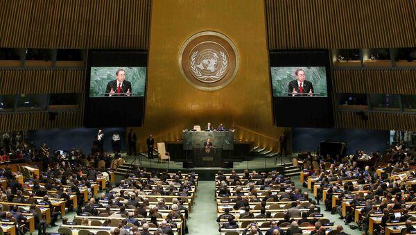United Nations Secretary General Ban Ki-moon addresses attendees during the 70th session of the United Nations General Assembly at the U.N. Headquarters in New York, September 28, 2015 - Sputnik International