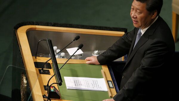 President Xi Jinping of China addresses attendees during the 70th session of the United Nations General Assembly at the U.N. Headquarters in New York, September 28, 2015 - Sputnik International