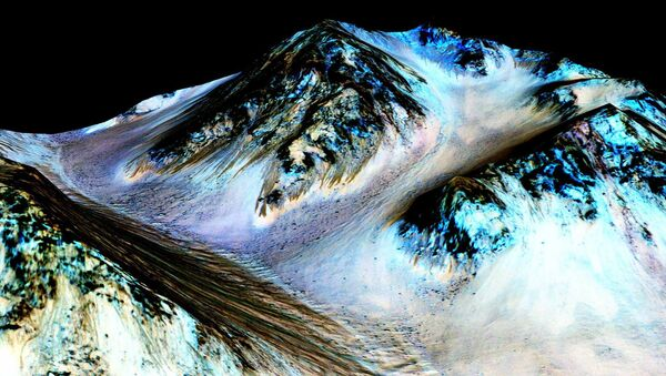 Dark, narrow, 100 meter-long streaks on Mars inferred to have been formed by contemporary flowing water are seen in an image produced by NASA, the Jet Propulsion Laboratory (JPL) and the University of Arizona. Scientists have found the first evidence that briny water may flow on the surface of Mars during the planet's summer months, a paper published on Monday showed - Sputnik International