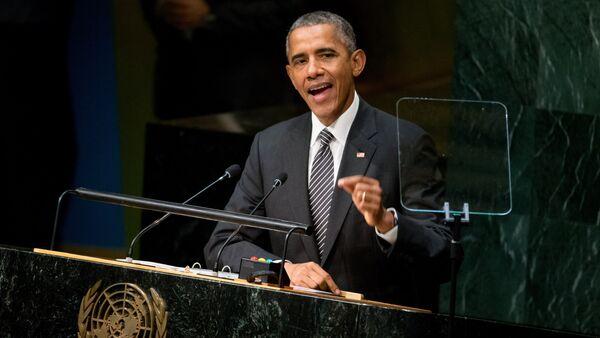 In this Sept. 27, 2015, file photo, President Barack Obama speaks at the United Nations Sustainable Development Summit, Sunday, Sept. 27, 2015, at the United Nations headquarters - Sputnik International