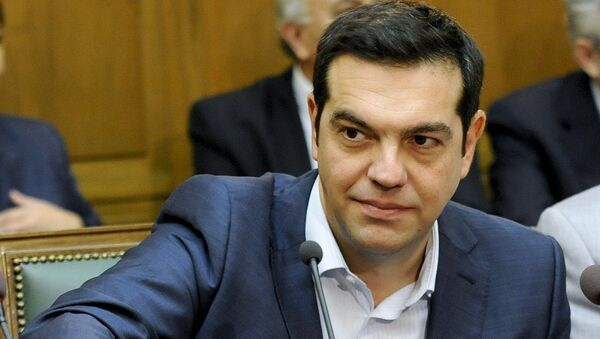 Greek Prime Minister Alexis Tsipras attends the first meeting of the new cabinet in the parliament building in Athens, Greece September 25, 2015 - Sputnik International