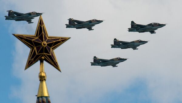 Sukhoi Su-25 aircraft seen here during the rehearsal of the Victory Parade's air show in Moscow - Sputnik International