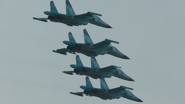 Jet formation flyby was carried out by four Su-34 Fullbacks - Sputnik International