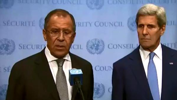 Lavrov, Kerry address media after discussions at United Nations - Sputnik International