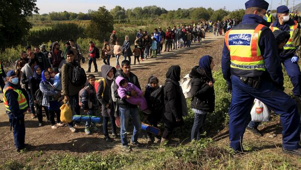 Migrants queue to board a train at the railway station in Zakany, Hungary October 1, 2015. - Sputnik International