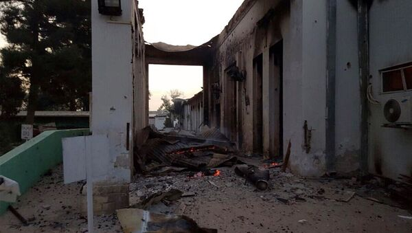 The burned Doctors Without Borders hospital is seen after explosions in the northern Afghan city of Kunduz, Saturday, Oct. 3, 2015 - Sputnik International
