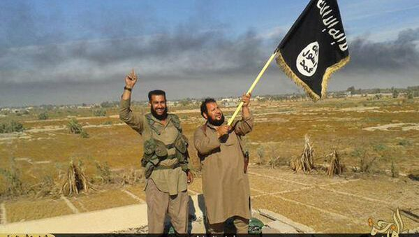 In this photo released on Sunday, June 28, 2015, by a website of Islamic State militants, an Islamic State militant waves his group's flag as he and another celebrate in Fallujah, Iraq, west of Baghdad - Sputnik International
