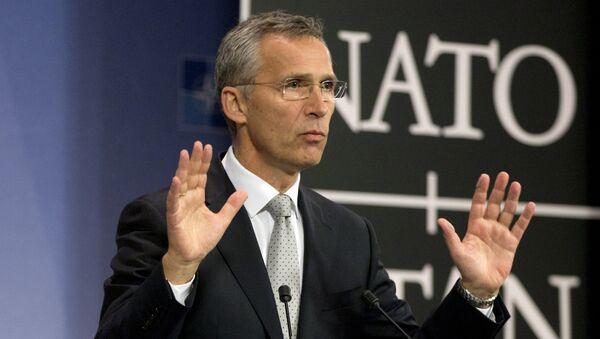 NATO Secretary General Jens Stoltenberg speaks during a media conference at NATO headquarters in Brussels on Tuesday, Oct. 6, 2015 - Sputnik International