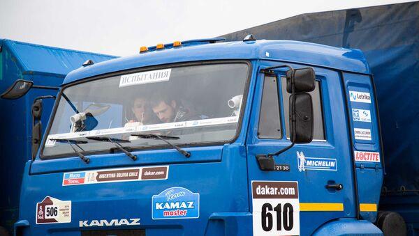 One of the vehicles used to test the driverless Kamaz's sensor equipment. - Sputnik International
