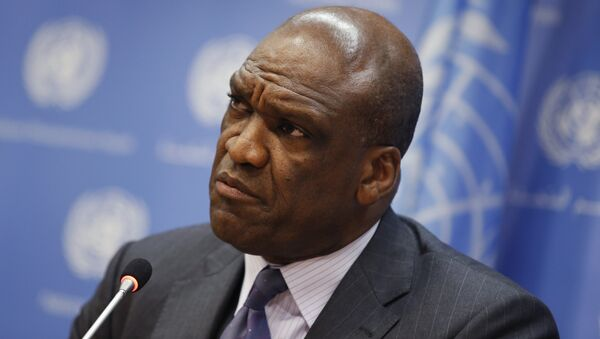 File photo of Ambassador Ashe of Antigua and Barbuda and current President of the U.N. General Assembly speaking during a news conference ahead of the 68th United Nations General Assembly at U.N. Headquarters in New York - Sputnik International