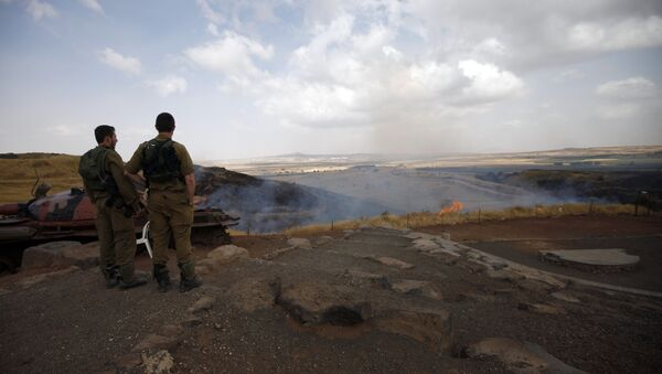 Israeli soldiers watch the flames on a mountain side in the El-Rom settlement in the Israeli-annexed Golan Heights on June 28, 2015 - Sputnik International