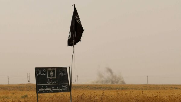 Smoke rises in the distance behind an Islamic State (IS) group flag and banner after Iraqi Kurdish Peshmerga fighters reportedly captured several villages from IS group jihadists in the district of Daquq, south of the northern Iraqi multi-ethnic city of Kirkuk on September 11, 2015 - Sputnik International
