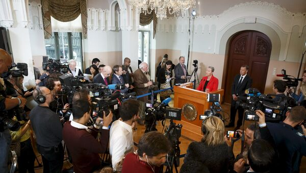 Kaci Kullmann Five, the new head of the Norwegian Nobel Peace Prize Committee, announces the winner of 2015 Nobel Peace Prize during a news conference in Oslo, Norway, October 9, 2015 - Sputnik International