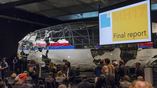 The reconstructed airplane serves as a backdrop during the presentation of the final report into the crash of July 2014 of Malaysia Airlines flight MH17 over Ukraine, in Gilze Rijen, the Netherlands, October 13, 2015 - Sputnik International