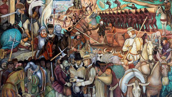 Mural of exploitation of Mexico by Spanish conquistadors, Palacio Nacional, Mexico City - Sputnik International