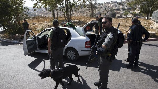 Israeli border policemen check a Palestinian car at a checkpoint in Jabel Mukaber, in an area of the West Bank that Israel captured in a 1967 war and annexed to the city of Jerusalem October 14, 2015 - Sputnik International