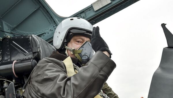 Ukrainian President Petro Poroshenko waves as he takes part in a testing flight onboard a Sukhoi Su-27 fighter aircraft during his working trip to Zaporizhia region on the Day of Defender of Ukraine, October 14, 2015 - Sputnik International